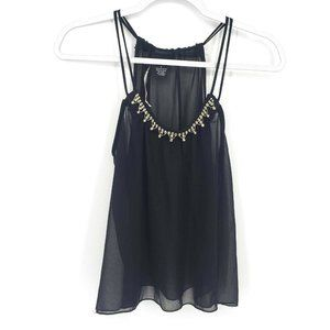 NWT Rue21 Womens Size Small Black Beaded Strap Top